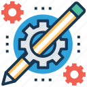 blogging, content writing, copywriting, edit, pencil gear icon