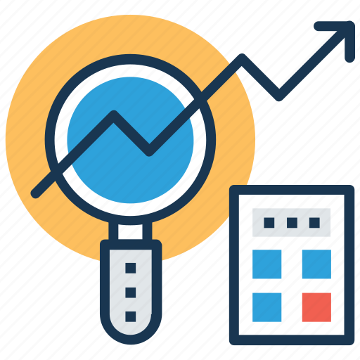 data analyzing, graph analysis, graph magnifying, search stats, statistical analysis icon