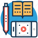 ebook, online study, video lecture, video lesson, video tutorial icon
