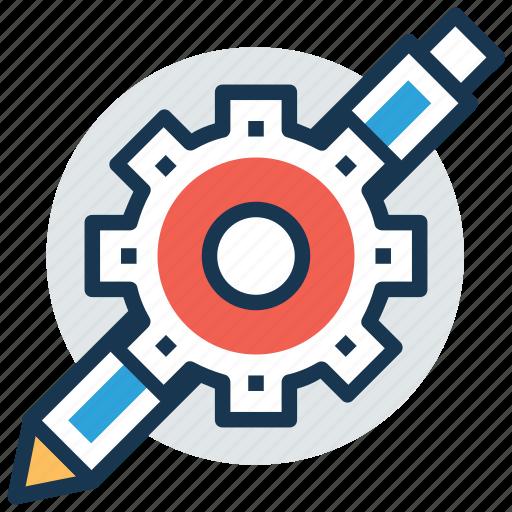 blogging, content writing, copywriting, edit, pencil gear icon