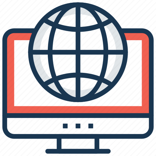 global communication, global connection, global network, globe monitor, internet connection icon