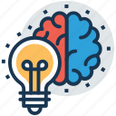 brain bulb, bright mind, creative mind, glowing mind, innovation icon