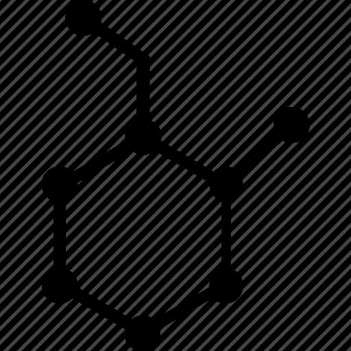 chemistry, formula, hexagone, notation icon