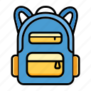 backpack, bag, education, school, student, study icon