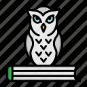 bird, book, education, knowledge, owl, wisdom icon