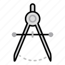 design, tools, circle, geometric, compass, education, craft icon