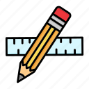 design, drawing, geometry, pencil, ruler, stationery, tools icon