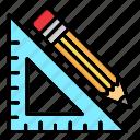 geometric, geometry, measure, pencil, protractor, shape, tools icon