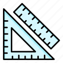 geometric, geometry, measure, protractor, ruler, shape, tools icon