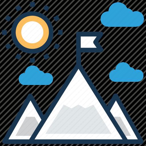 achievement, goal, leadership, mission, mountains icon