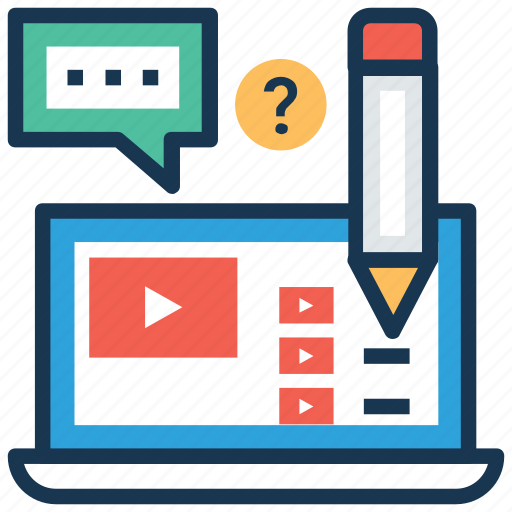 education technology, online study, video lecture, video lesson, video tutorial icon