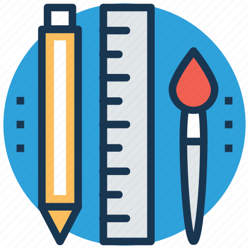 back to school, paint brush, pencil, scale, stationery icon