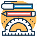 pen, pencil, protractor, school supplies, stationery icon