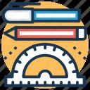 pen, pencil, protractor, school supplies, stationery icon