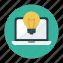 bulb, creative, idea, lamp, laptop icon