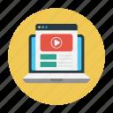 education, laptop, online, tutorial, video icon