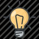 +education, +idea, +science, bulb, lamp, light, school icon