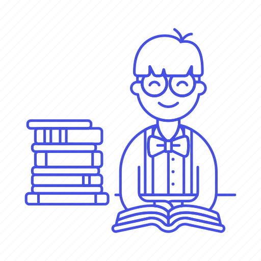 1, books, bookworm, education, knowledge, learning, library, male, nerd, school, smart, studying icon