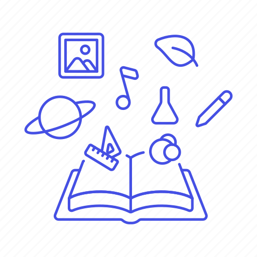 art, astronomy, book, chemistry, education, interest, knowledge, learning, math, open, science icon