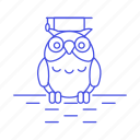 2, education, graduation, knowledge, learning, mortarboard, owl, study, wisdom icon