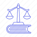 book, education, information, jurisprudence, justice, knowledge, law, learning, of, scale, study icon