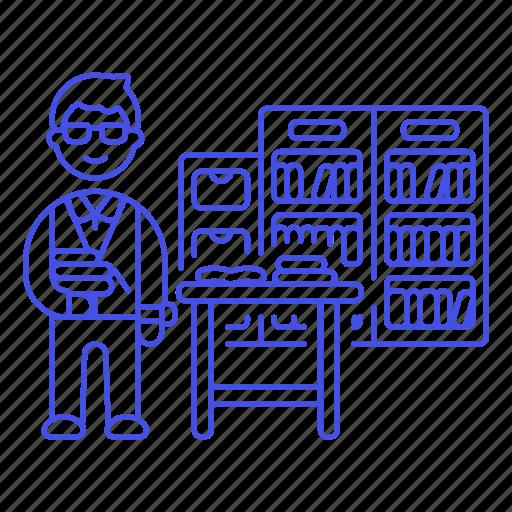 2, books, bookshelves, desk, education, employee, librarian, library, male, registry, school icon