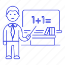 1, board, classroom, desk, education, instructor, male, math, school, teacher, whiteboard icon