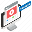 e learning, online study, training video, video lecture, video lesson, video tutorial icon
