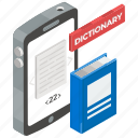 booklet, vocabulary, online wordbook, book, mobile dictionary icon
