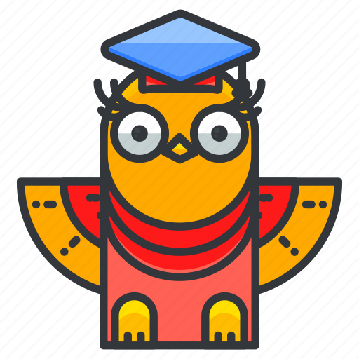 animal, bird, education, graduate, owl icon