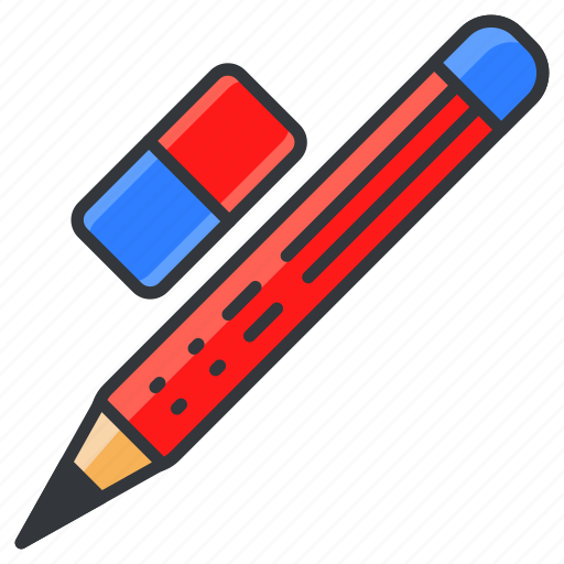 education, eraser, pencil, stationary, write icon