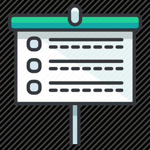 board, education, list, presentation icon