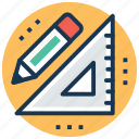 degree square, drafting tool, geometry tool, pencil, set square icon