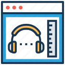 audio book, audio tutorials, book with headphone, education, online book icon