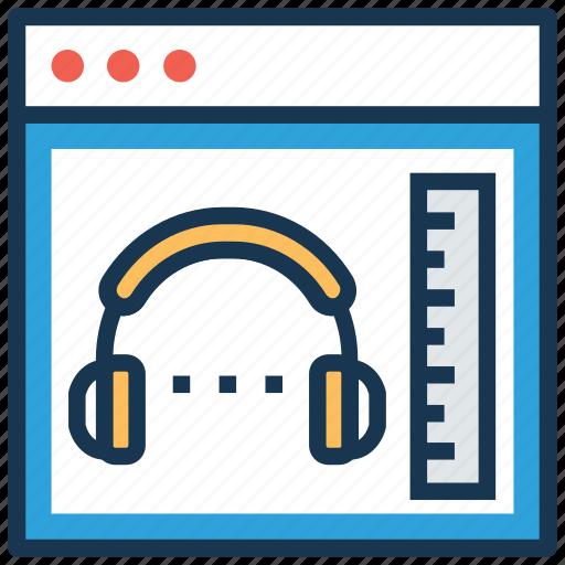 audio book, audio tutorials, book with headphone, education, online book icon