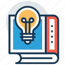 book with bulb, creative education, creativity, innovation, knowledge power icon