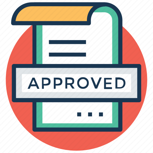 approved, check mark, document, file accepted, task complete icon