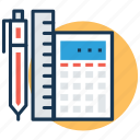 ballpen, calculator, geometry, ruler, stationery icon