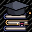 book, degree, education, graduation, hat, scholarship, university icon