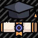 certificate, degree, education, graduation, hat, scholarship, university icon