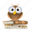 book, education, knowledge, owl, school icon