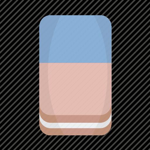 blue, eraser, ruber, school icon
