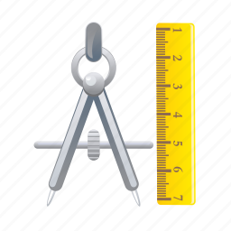 divider, measurement, measuring, ruler, school icon