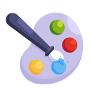 drawing brush, painting, education, school, learning, study icon