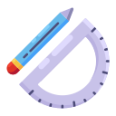 drawing tool, education, learning, pencil, ruler, school icon
