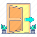 door, doorway, entrance, entryway, ingress, open, open door icon