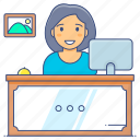 concierge desk, front desk, help desk, reception desk, registration, registration desk, service provider icon