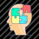 decision, jigsaw pieces, logic, problem solving, puzzle piece, solution, solution science icon