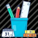 office accessory, pencil case, pencil cup, pencil holder, pencil stand, stationery, stationery holder icon