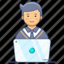 freelancer, internet user, online education, online learning, online study, student, student online icon